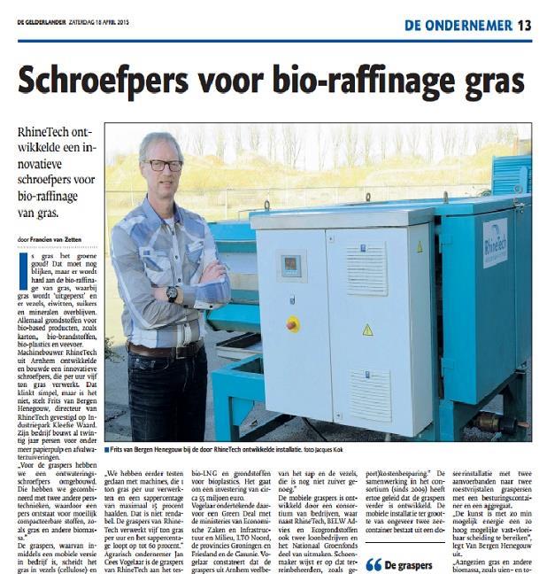 Schroefpers voor bio-raffinage gras