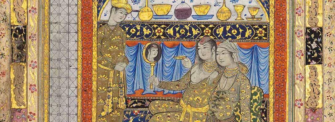 SM Bruid in voorbereiding op het huwelijk Iran, Safavide periode door Muhammad Qasim 1e helft 17de eeuw