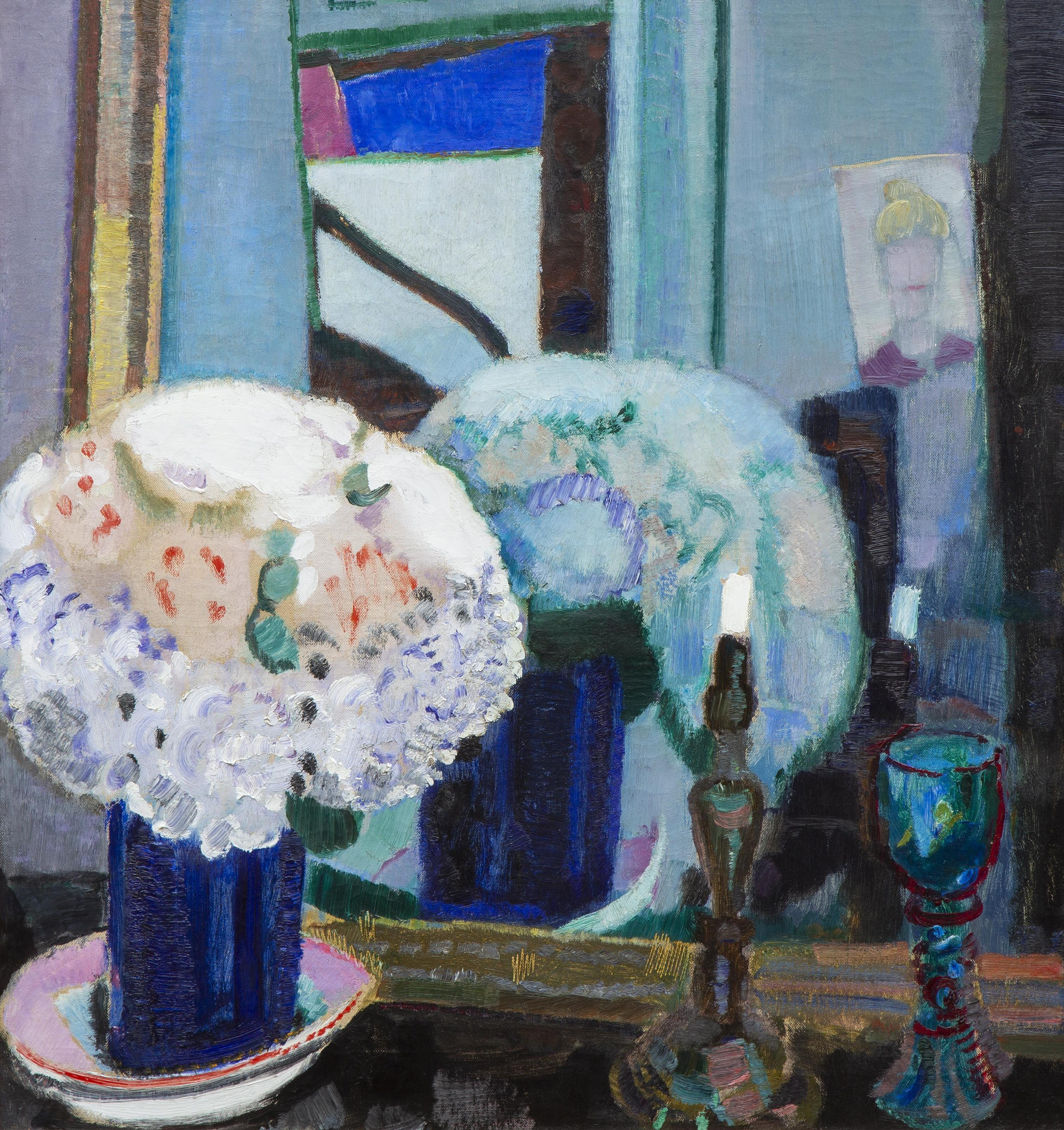 Jan Sluijters A still life with flowers, a candle and a glass in front of the mirror