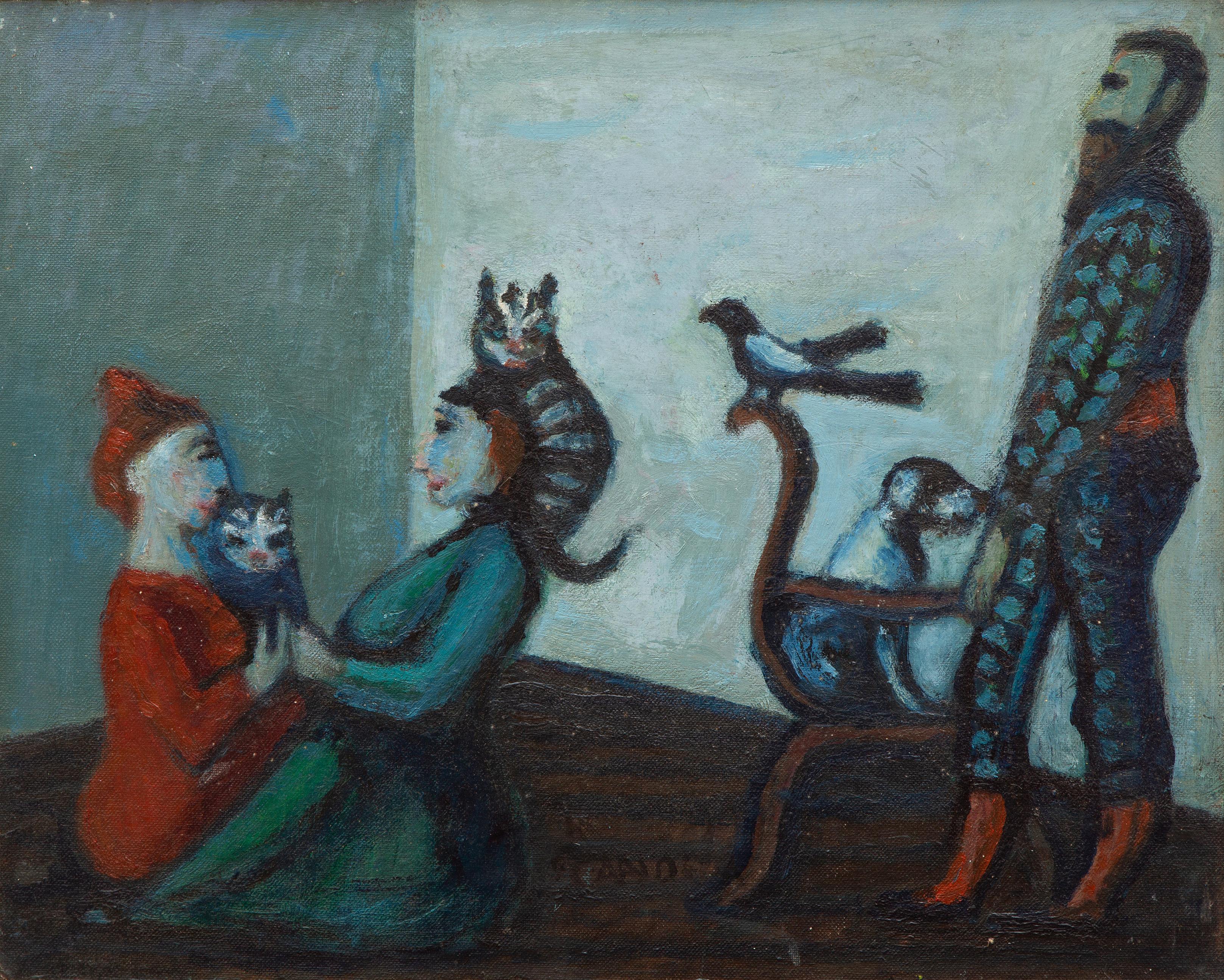 Kees Andrea (1914-2006), Ekster en figuren. Olieverf op doek