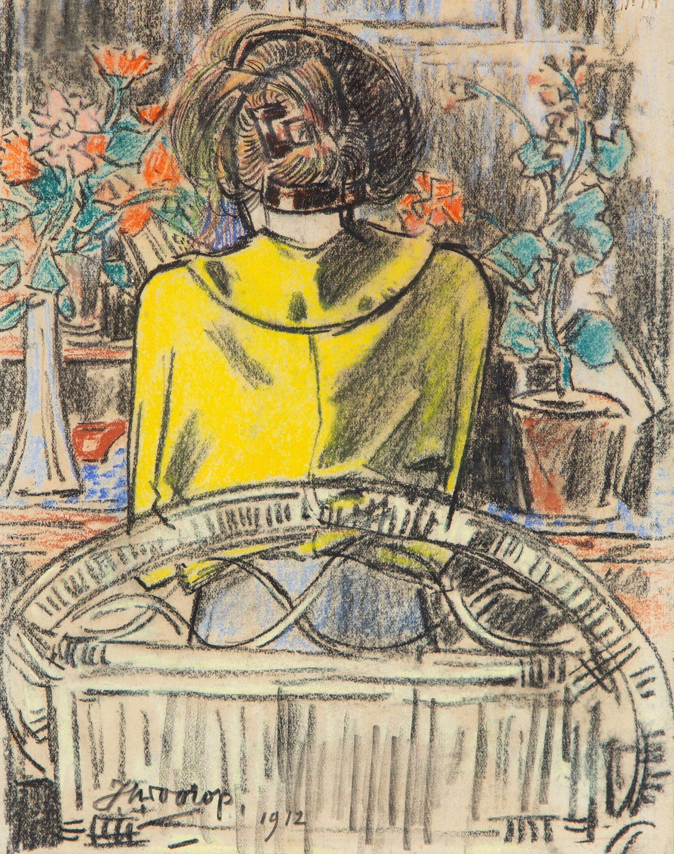 Een lezende dame aan een tafel, op de rug gezien